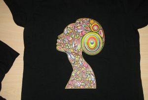 A2 टी-शर्ट मुद्रक WER-D4880T द्वारा कालो टी शर्ट मुद्रण नमूना